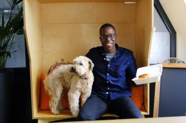 Crowdcube Exeter HQ, Femi and Pheobe the office dog
